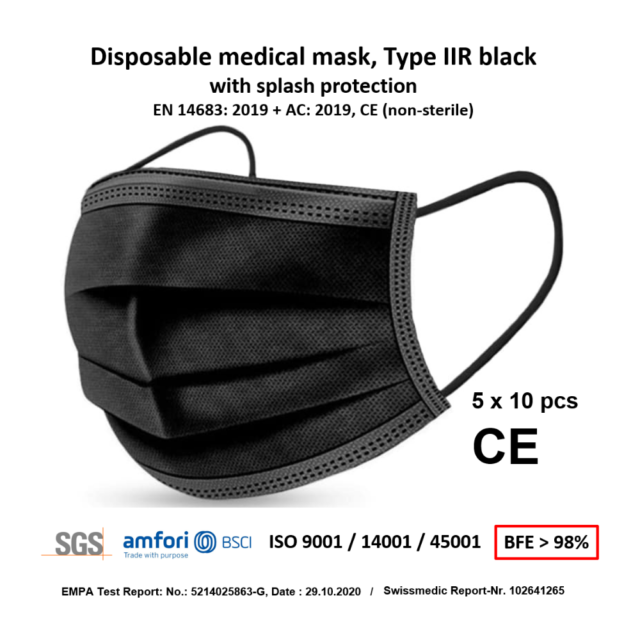 Disposable medical face mask type IIR black